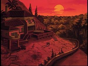 Disney Gargoyles - The Green - villa at sunset