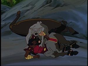Disney Gargoyles - The New Olympians - centaur vs bronx