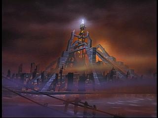 Disney Gargoyles - Future Tense - new eyrie building with pyramid