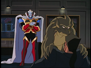Disney Gargoyles - the Gathering - boudicca holds xanatos down