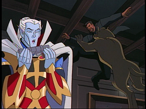Disney Gargoyles - the Gathering - boudicca tackles xanatos
