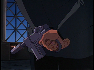 Disney Gargoyles - the Gathering - gun behind xanatos back