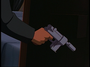 Disney Gargoyles - the Gathering - gun in secret compartment