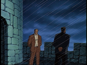Disney Gargoyles - the Gathering - petros and david xanatos in rain